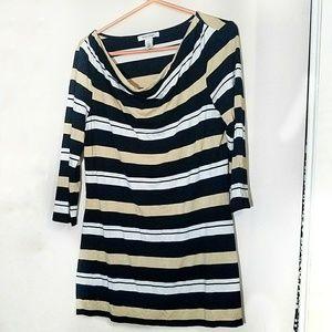 White House Black Market Striped Shirt Dress L